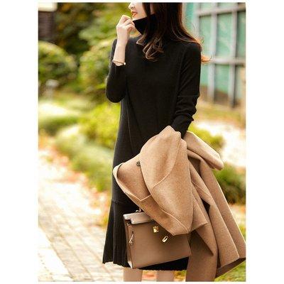 [ZQ259429VG] 敲美細節!內搭、外穿都省心 全羊毛針織連衣裙