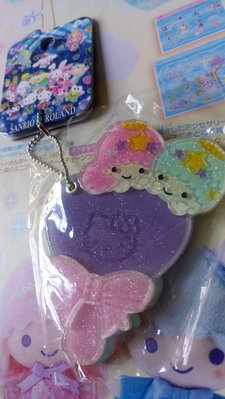 雙子星店 Sanrio Puroland 樂園限定Little Twin Stars KiKi LaLa 閃粉 鎖匙扣鏡仔手鏡 吊飾 日本製