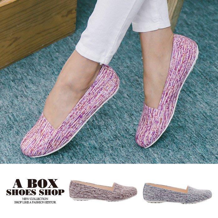 格子舖*【AW530】零碼36  MIT台灣製 混色毛呢皮革 豆豆鞋 圓頭包鞋 娃娃鞋
