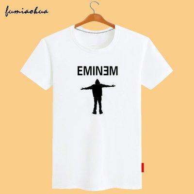 埃米納姆Eminem阿姆短袖T恤 嘻哈音樂說唱rap搖滾寬松圓領