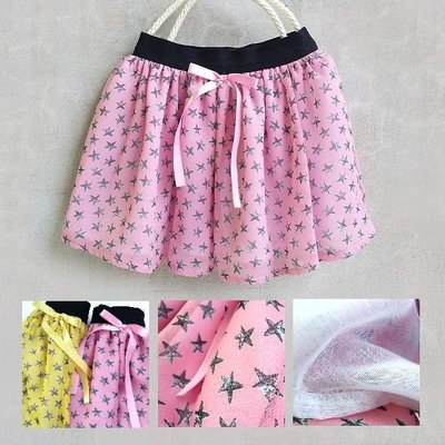 【韓國空運正韓童裝】正韓--活力星星圓點薄紗短裙--粉紅/黃--兩色可選