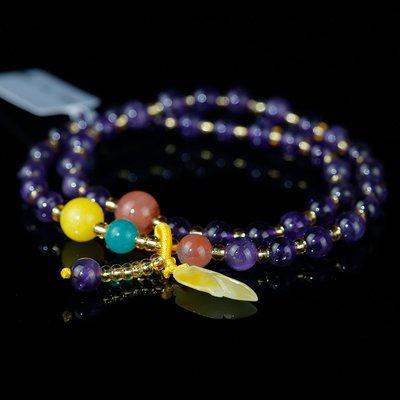 【月壺】蜜蠟天河石紫水晶兩圈手鏈 推薦(hz-s-8129)