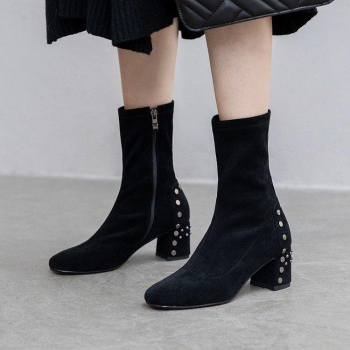 Fashion*鉚釘真皮短靴 高跟方頭粗跟裸靴 百搭網紅瘦瘦靴『黑色 杏色』34-40碼