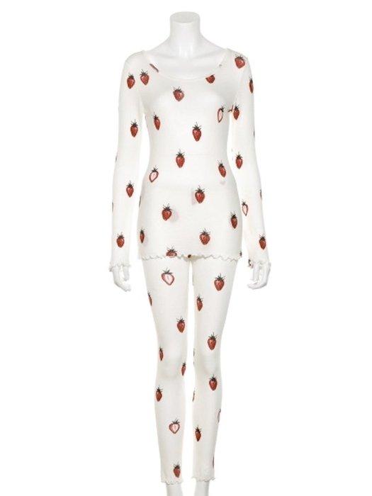 陽光角落~ 草莓印花塗鴉圓領圓領上衣+內搭褲家居套裝~ Gelato pique。