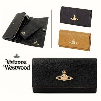 Vivienne Westwood 日本限定款! ( 黑色/棕褐色/深棕色)×金屬大土星LOGO  真皮 兩摺長夾 皮夾 錢包|100%全新正品|特價