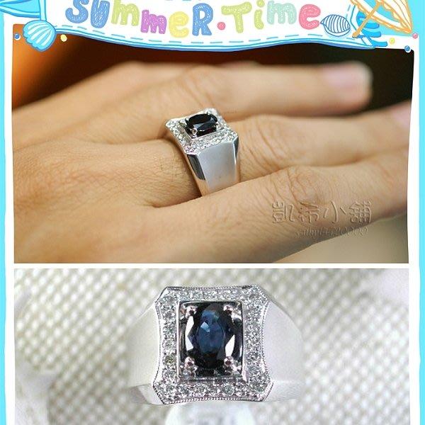 。☆凱希小舖☆。♥ 1克拉 ~天然藍寶鑽石純k金戒指no.3330