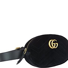 免運 | Gucci Marmont 絲絨黑色腰包