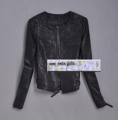 歐美品牌真皮羊皮小香風韓國版優雅圓領無領收腰合身機車皮衣ZARA H&M SZ ASOS