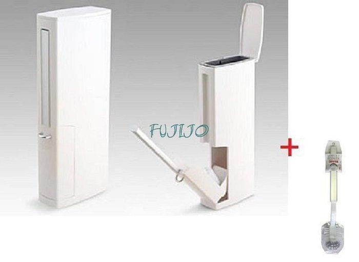 ~FUJIJO~現貨~日本限定販售【AISEN】日本製 浴室 廁所 馬桶刷清潔刷+垃圾桶二合一 再加一支補充刷 白色