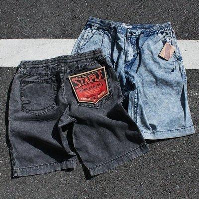 【GIANT MALL】免運 STAPLE JAVA DENIM SHORT 丹寧 牛仔 鬆緊 短褲 黑/藍色