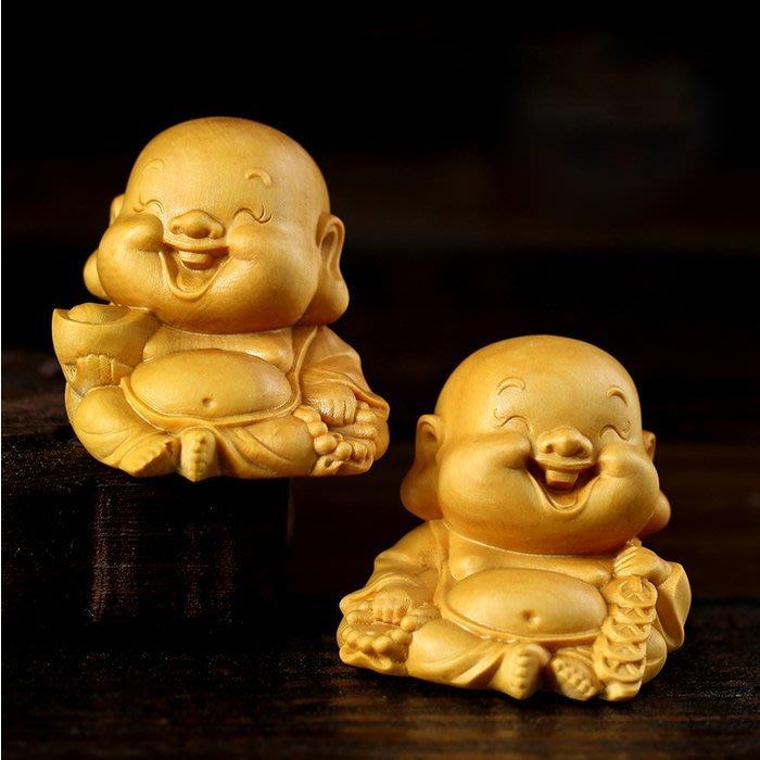 5Cgo【茗道】含稅40782556206 元寶銅錢樂清黃楊木雕掛件手把件把玩笑佛Q版小彌勒佛茶玩茶寵博古架裝飾品