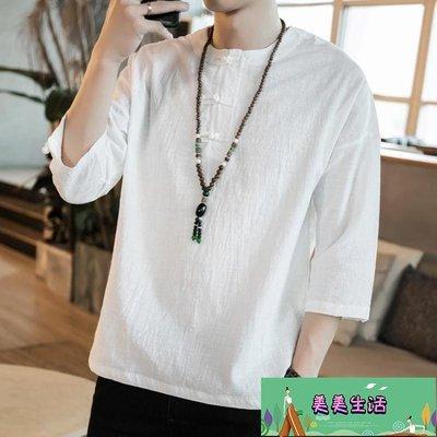 短袖T恤中國風夏男裝亞麻棉麻大碼上衣寬鬆中袖七分袖半截袖唐裝【美美生活】