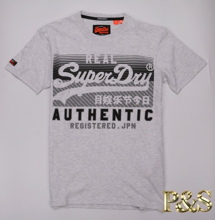 [PS]3號5樓 全新正品 極度乾燥 Superdry Authentic OVERSIZE 基本立體印花 短T 透明灰
