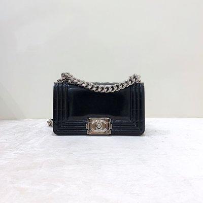 Chanel Boy 20 漆皮 銀釦 黑色《精品女王全新&二手》