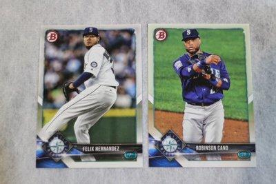 水手隊~Felix Hernandez Robinson Cano~2018 Bowman MLB 球隊~主力球星~1