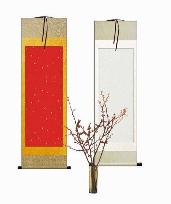 Art in THE【傑儒書畫】兩尺空白掛軸 宣紙全綾布 國畫書法 書畫卷軸對聯橫批裱畫軸 34x117cm