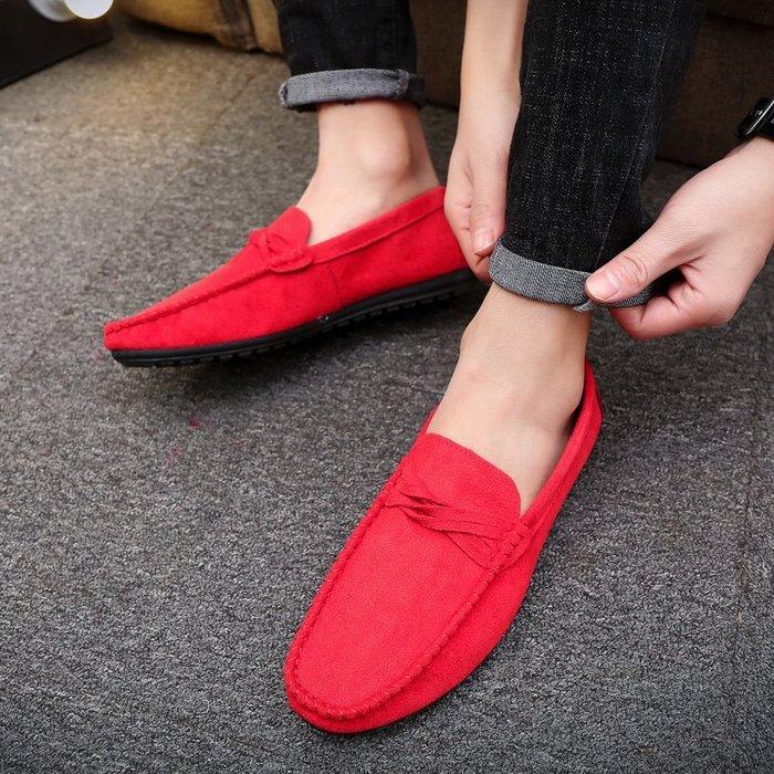 2018春季新款男士韓版休閑一腳蹬社會精神小伙潮男豆豆鞋紅色
