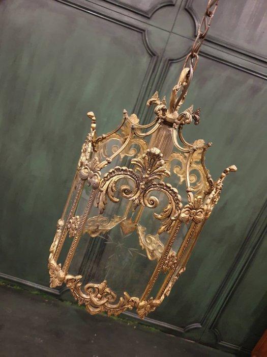 【卡卡頌  歐洲古董】法國古董 手工雕刻玻璃 古典 吊燈  歐洲老件 玄關燈  轉角燈  骨董燈 l0371 ✬