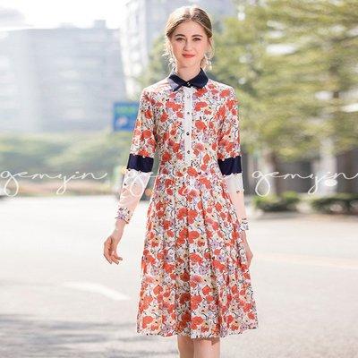 GEMYIN【歐美時尚精品女裝】金屬扣襯衫領拼色袖洋裝 (預購) 原創設計