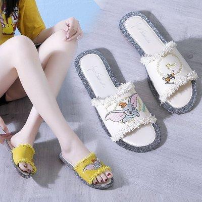 大碼女鞋2019夏季新款韓版流蘇刺繡平底涼拖鞋女休閑軟底外穿平跟一字拖鞋有40碼