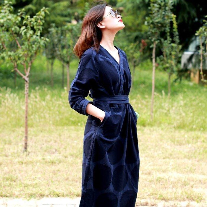【鈷藍家】棉麻臆想 原創【候鳥】春秋款純棉連身裙新中式漢服收腰開叉修身顯瘦袍子