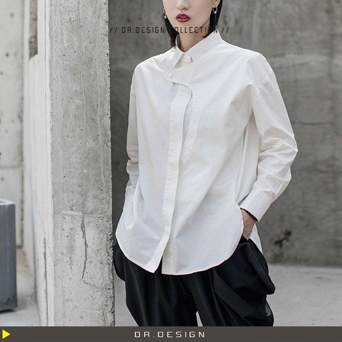 10/23新品►DR.DESIGN│DR3171特價-暗黑 簡約 特別 中性BF風 不規則扣 扣子設計 純白 長袖襯衫