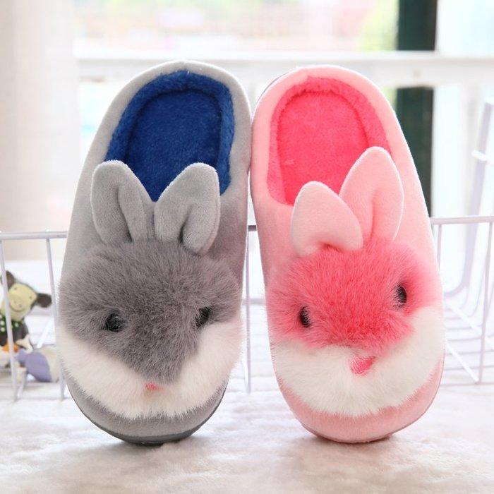 兒童拖鞋正韓版冬季新款卡通兔子居家加厚保暖兒童棉拖鞋包跟軟底室內男女童棉鞋10-5