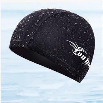 仿鯊魚皮黑色泳帽