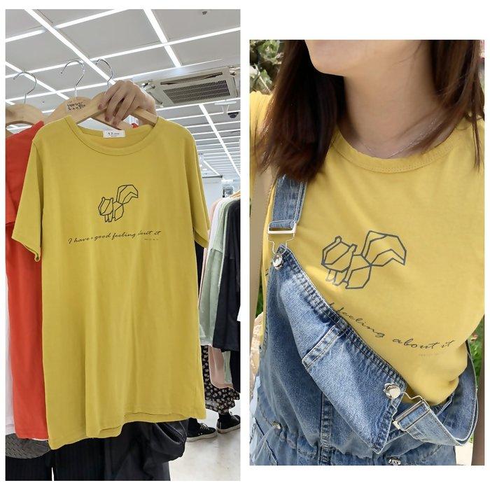 正韓【Meet Shop】Aug-09 松鼠積木造型棉T 芥黃 長版