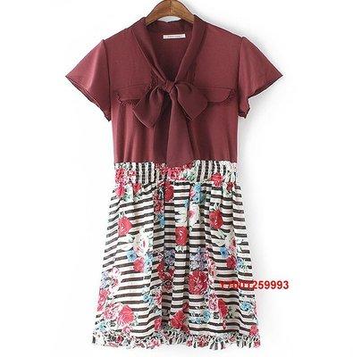 【Mi Ni】日本  axes  領口繫帶  水彩花朵印花  收腰   連衣裙 洋裝~暗紅色系