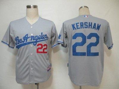 刺繡 成人棒球服洛杉磯道奇隊22號KERSHAW 灰色 大人球衣 ainimkin