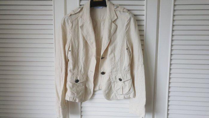 F36 MARELLA sport 淺米色天然棉麻單排釦外套