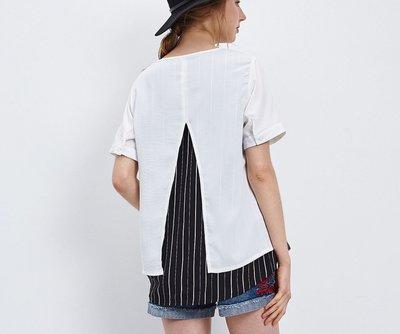 衣飾情緣?nice ioi 白色撞色條紋設計上衣
