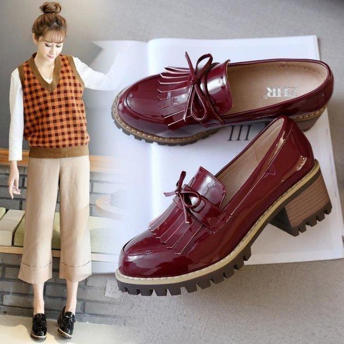 ☜男神閣☞2018ZHR春季新款流蘇鞋女粗跟單鞋英倫風女鞋小皮鞋高跟鞋子