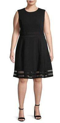 全新有吊牌 美國真品 Calvin klein 大尺碼氣質黑色無袖及膝洋裝 18W