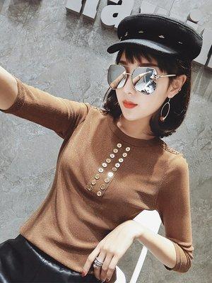 2019秋裝新款時尚七分袖t恤女修身顯瘦網紗打底上衣洋氣彈力小衫