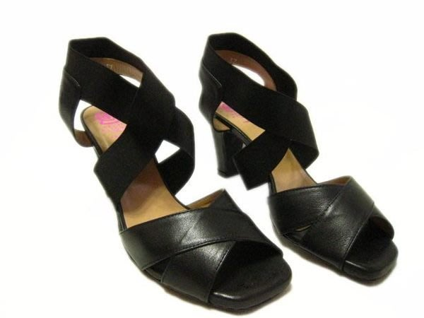 *Beauty*MASCARO黑色交岔涼拖鞋 37號 PH 前交岔是皮革 後交岔彈性帶