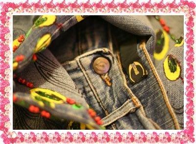 全新真品【Just Cavalli】重磅手工鑲珠花刺繡牛仔褲