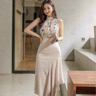 &韓女王&7021#新款兩件套2020夏裝韓版修身印花上衣收腰荷葉邊半身裙套裝