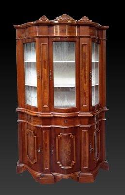 【家與收藏】特價稀有珍藏歐洲古董英國古典精緻手工Inlaid鑲嵌高邊櫃/展示櫃/置物櫃