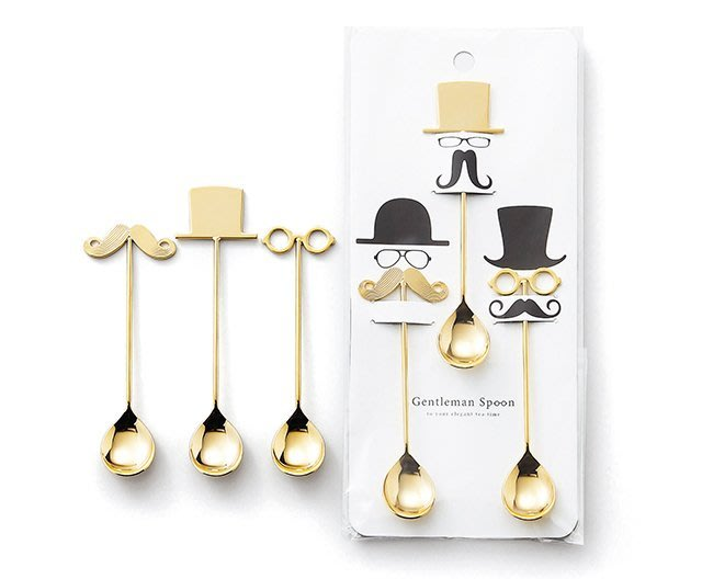 現貨  ◎日本直送◎日本製 Gentleman 紳士3件組(眼鏡、鬍子、帽子) 茶匙/湯匙/點心匙/咖啡匙/蛋糕匙