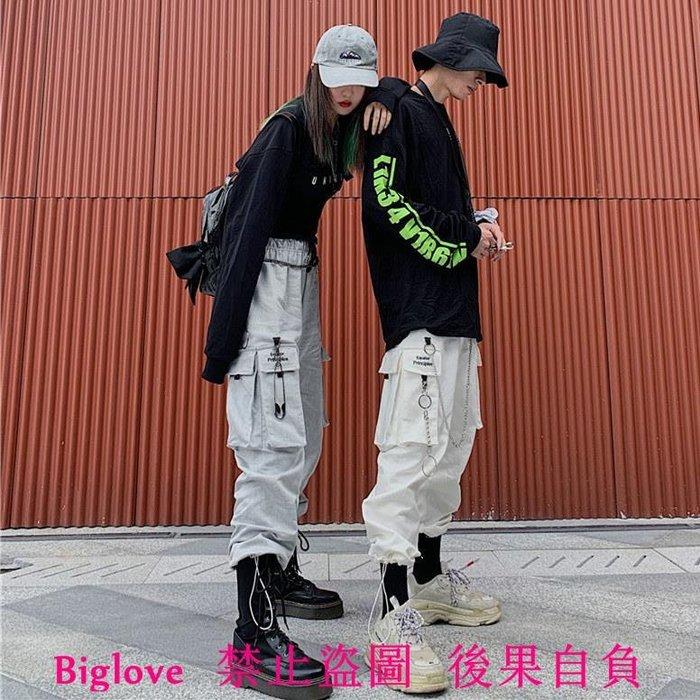 18韓國復古字母刺繡大口袋休閑工裝褲+鏈條 男女款