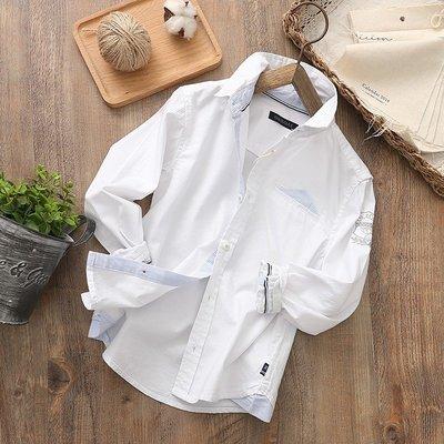【Mr. Soar】 D259 春季新款 歐美style童裝男童白色長袖襯衫 中大童 現貨