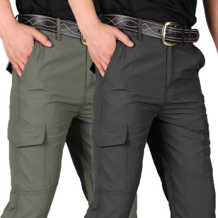 速乾褲 夏季速干褲男士薄款戶外運動登山工裝褲寬鬆多袋軍迷戰術沖鋒長褲 [免運可開發票-酷森]