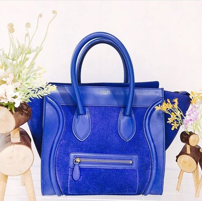 Celine mini luggage suede royal blue 100%Authentic real 真品