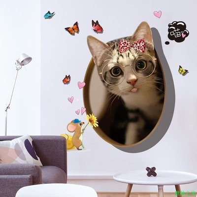 墻貼 壁紙 貼紙 背景墻 貼畫創意3D立體卡通可愛貓咪貼畫墻貼紙防水ins小房間布置裝飾品自粘壁貼之家