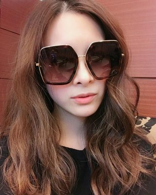 【WEEKEND】 GUCCI Oversized Octagon 太陽眼鏡 墨鏡 琥珀色 劉真 470458