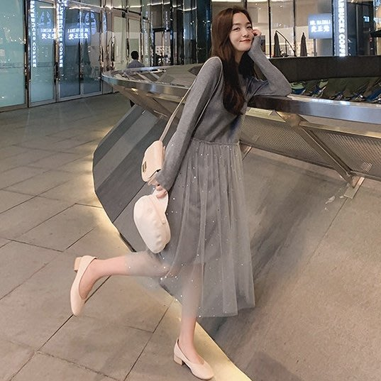 *Angel  Dance*長袖洋裝(3色)@韓國 氣質 半高領 法式風格 亮片網紗 拼接 針織 毛衣 寬鬆@現貨+預購
