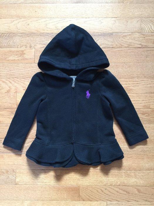 【Polo Ralph Lauren】女寶寶 大馬刺繡 LOGO 厚棉 大馬連帽外套 長袖 荷葉衣襬 黑色