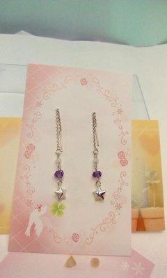♢手作創意輕珠寶系列-耳環-♢♡星星紫水晶垂吊式耳環♡單一商品.只為您誕生.原價980[特價商品]420,欲購從速😄